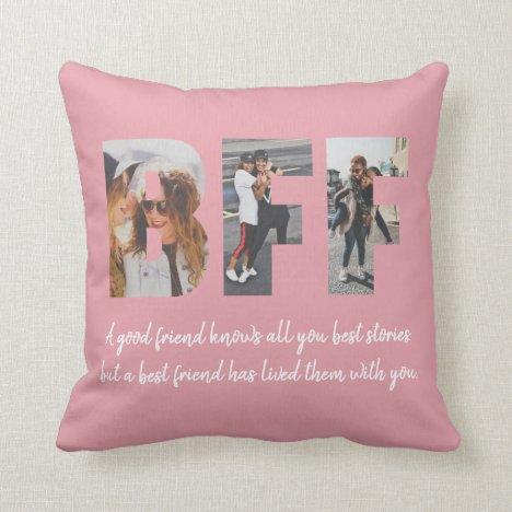 BFF Photo Collage Best Friend Besties Blush Pink Throw Pillow