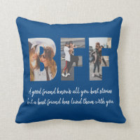 BFF Photo Collage Best Friend Besties Navy Blue Throw Pillow