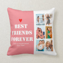 BFF Photo Collage Best Friend Birthday Gift Custom Throw Pillow