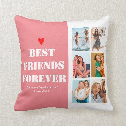 BFF Photo Collage Best Friend Birthday Gift Custom Throw Pillow