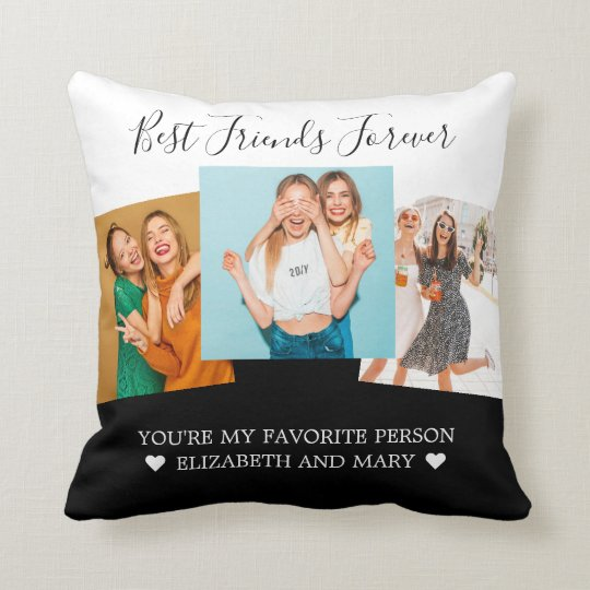 BFF Photo Collage Best Friends Personalized Black Throw Pillow