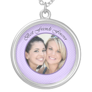 BFF Photo Round Pendant Necklace