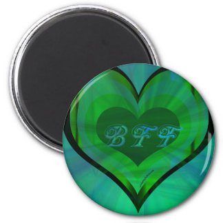 bff verde del corazón imanes