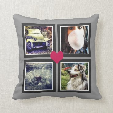 PartyHearty BFFs Cute Instagram Photo Collage with Heart Throw Pillow