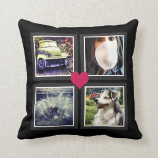 Bffs Cute Instagram Photo Collage With Heart Throw Pillow at Zazzle