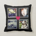 BFFs Cute Instagram Photo Collage with Heart Throw Pillow<br><div class='desc'>Upload four of your favorite square cropped photos to personalize this cute throw pillow. Great for family, your best friends (BFF!) or your special someone. Simple double gray and white frames in a grid pattern and a cute hot pink heart shape in the center makes this a great gift for...</div>