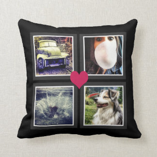 BFFs Cute Instagram Photo Collage with Heart Throw Pillow