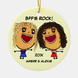 BFF's Rock Cartoon Ceramic Ornament