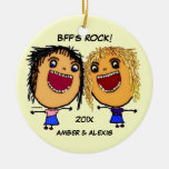 BFF's Rock Cartoon Double-Sided Ceramic Round Christmas Ornament
