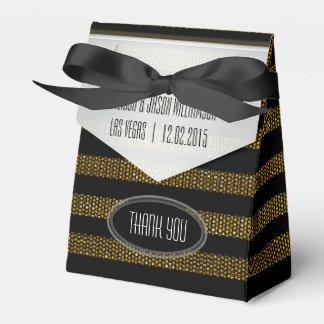 BG01 Glitter Gold & Black Stripes Party Favor Box