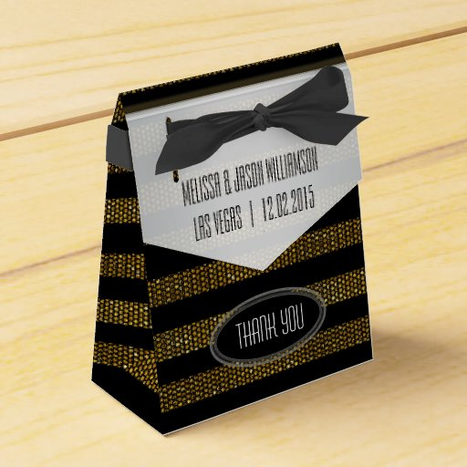 BG01 Glitter Gold & Black Stripes Party Favor Box