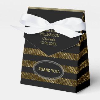 BG02 Glitter Gold & Black Stripes Party Favor Box