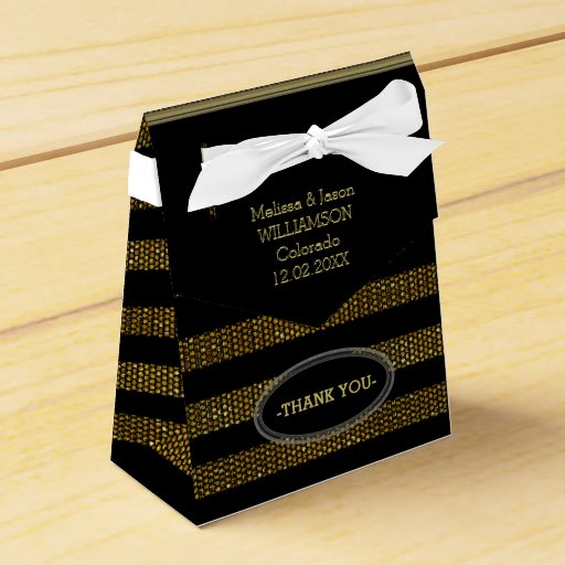 BG02 Glitter Gold & Black Stripes Party Favor Box