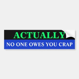 Bg_bumper, NO ONE OWES YOU CRAP, ACTUALLY Car Bumper Sticker