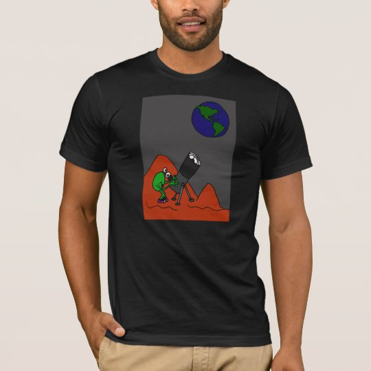 BG- Martian Looking Through Telescope Cartoon T-Shirt
