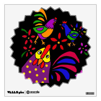 BG- Rooster and Chickens Folk Art Wall Decal