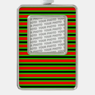 BG Stripes Pattern black red + your photo & backg. Ornament