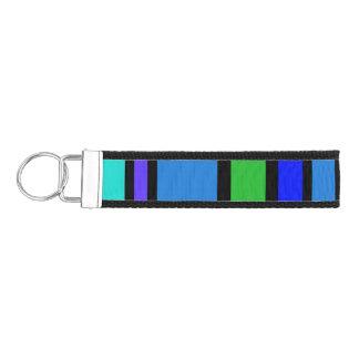 BG Stripes Pattern colored IV + your backgr. Wrist Keychain