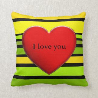 BG Stripes Pattern colored V + red heart Throw Pillow