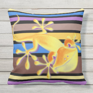BG Stripes Pattern colored VI + smiling gecko Outdoor Pillow