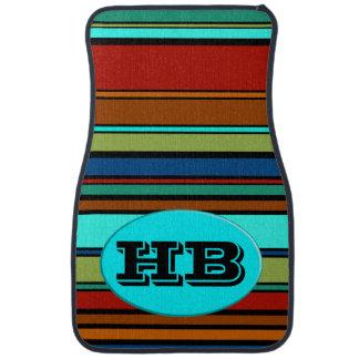BG Stripes Pattern colored XII + your monogram Floor Mat