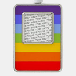 BG Stripes Pattern Rainbow colors + your photo Ornament