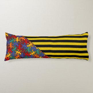 BG Stripes Pattern wride black + geckos mosaic Body Pillow