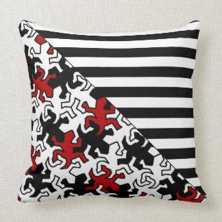 BG Stripes Pattern wride black + geckos mosaic Pillow