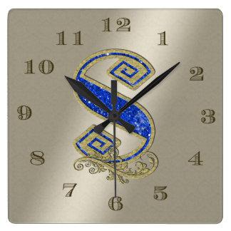 BGMS Blue Monogram S Square Wall Clock