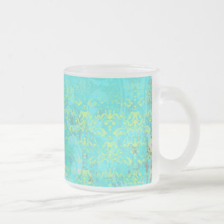 BGTPD TROPICAL DAMASK PATTERN LIGHT BLUE YELLOW GR FROSTED GLASS COFFEE MUG