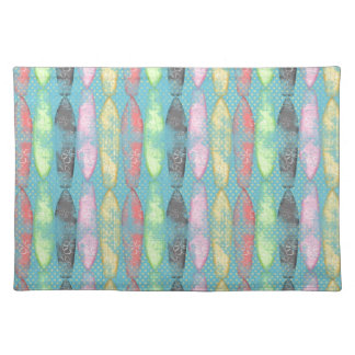 BGTPYS SURFBOARDS TROPICAL PATTERN LIGHT BLUE YELL PLACEMATS