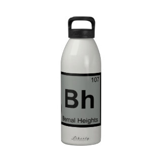 Bh - Bernal Heights San Francisco Chemistry Symbol Reusable Water Bottle
