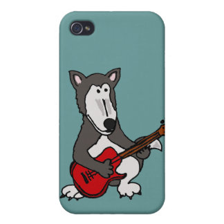 BH- Cute Wolf Playing Electric Guitar Cartoon iPhone 4/4S Case