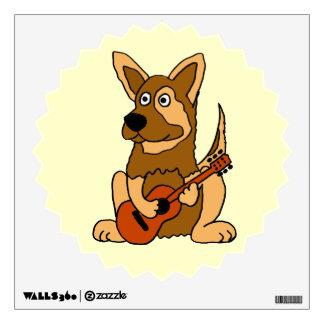 BH- German Shepherd Dog Playing Guitar Wall Decal
