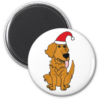 BH- Golden Retriever in Santa Hat Christmas Button 2 Inch Round Magnet