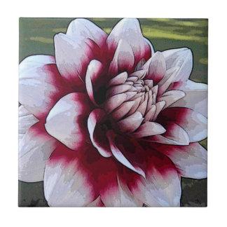 BH teja floral de la dalia roja y blanca