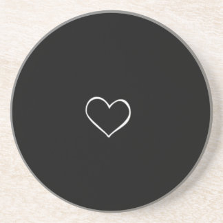 BHBL black background white heart classic love fli Coaster