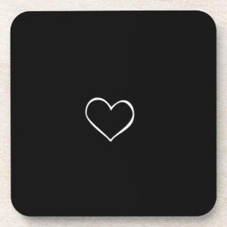 BHBL black background white heart classic love fli Drink Coaster