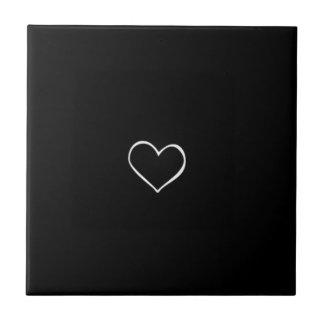 BHBL black background white heart classic love fli Tile