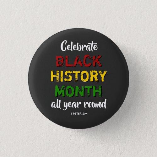 BHM Celebrate Black History Month Bible Christian Button