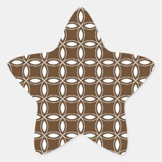 Bhocolate Brown and White Geometric Pattern Pt36 Star Sticker