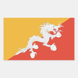 Bhután/bandera butanesa pegatina rectangular
