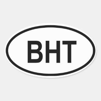 "Bhutan ""BHT"" Oval Stickers"