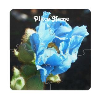 Bhutan Blue Poppy Puzzle Coaster