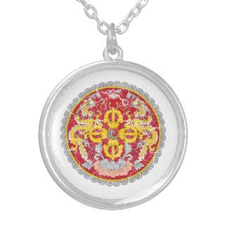 Bhutan Coat Of Arms Round Pendant Necklace