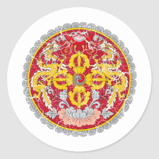 Bhutan Coat Of Arms Round Stickers