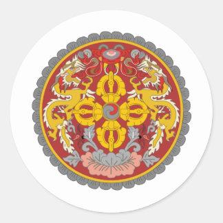 Bhutan coat of arms round sticker