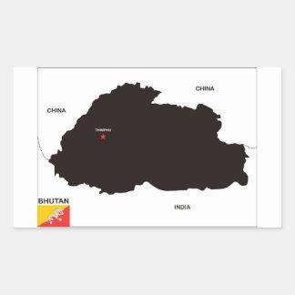 bhutan country political map flag rectangle sticker