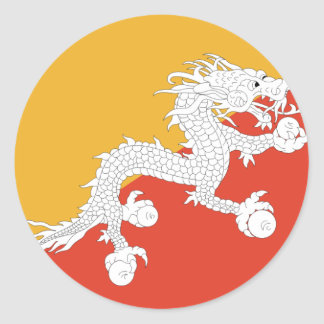 Bhutan dragon classic round sticker