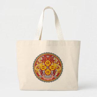 bhutan emblem jumbo tote bag